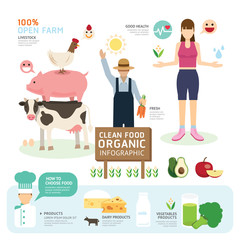 Organic Clean Foods Good Health Template Design Infographic. Con