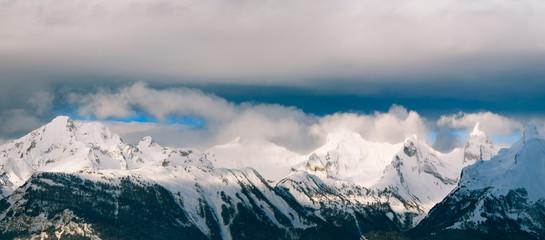 Швейцария горы Нендаз Зима Панорама
