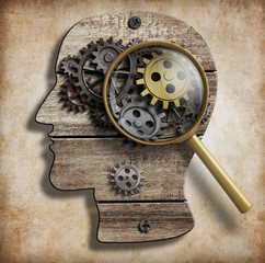 Brain gears and cogs. Mental illness, psychology, invention and
