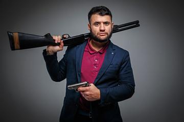 Powerful businessman with a gun