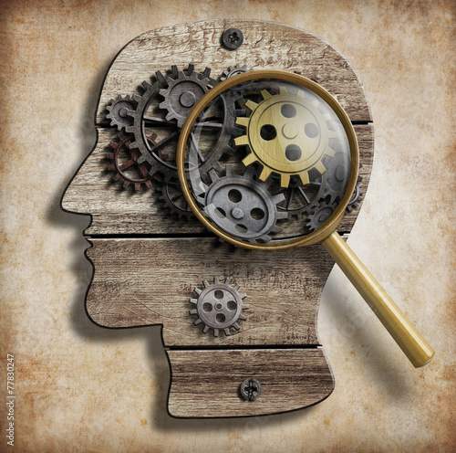 Brain gears and cogs. Mental illness, psychology, invention and - 77830247