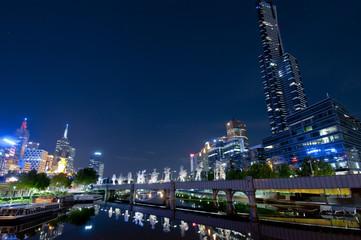 Night Urban City Skyline. Melbourne. Australia