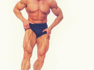 Portrait of bodybuilder posing in studio