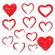 Vector hearts set. Hand drawn. - 77830674