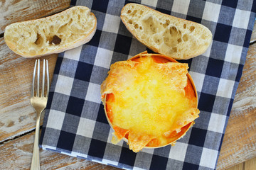 Baked cheese with ciabatta bread