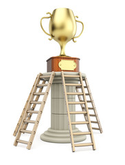 Winners cup on column with ladders. Success concept.