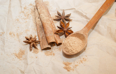 cinnamon and anise on paper
