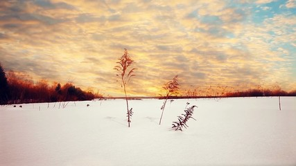 sunset in winter at snow field