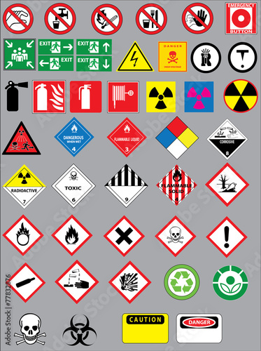 Fototapeta Colection of warning and safety signs