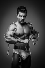 Brutal guy with steel chain