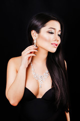 portrait of beautyful young asian woman with jewerly and