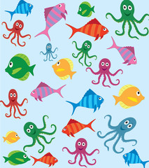 Fish and octopus pattern