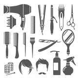 Hairdressing equipment symbols