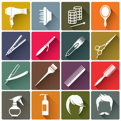 Square colorful hairdressing equipment icons