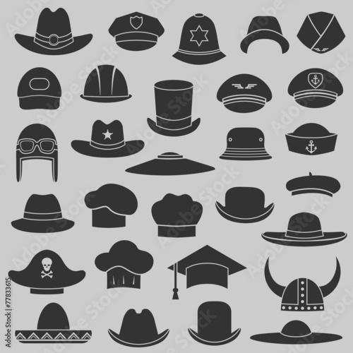 vector set hat and cap illustration, fashion set isolated icons - 77833615