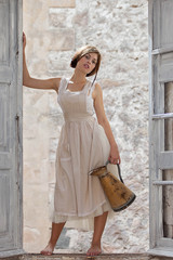 fashion girl, milk maid with jug