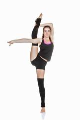 teen ballet dancer stretching exercise