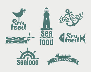 Seafood labels, icons, badges template set