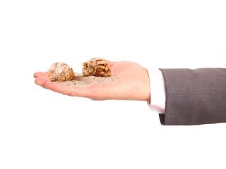 Muscheln und Sand auf einer Hand