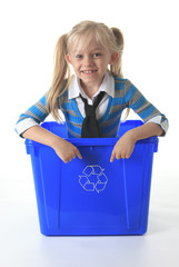 Recycling little girl