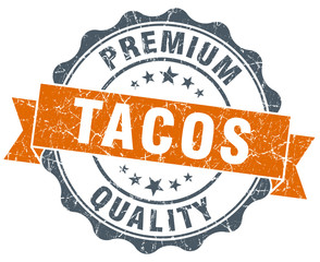 tacos vintage orange seal isolated on white