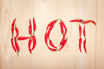 "word ""hot"" made of chili peppers"