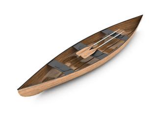 Wooden boat canoe