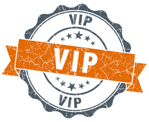vip vintage orange seal isolated on white
