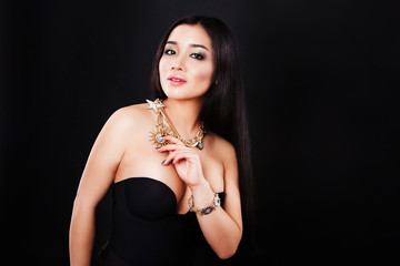 Beautiful fashion asian woman model with long hair and luxury
