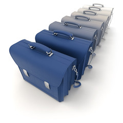 Row of leather briefcases