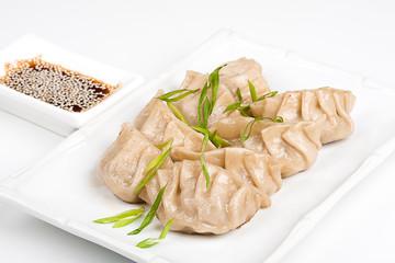 Japanese dumplings with soy