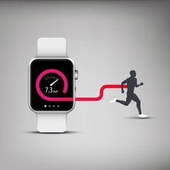 Fitness tracker app for smart watch concept with speed