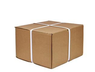 Bundled cardboard box isolated on white background