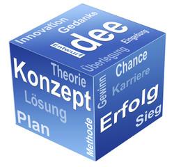 Würfel mit Businessplan. Idee, Konzept, Erfolg. Freigestellt