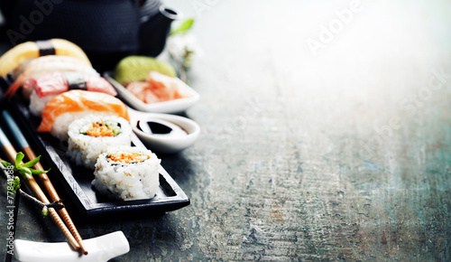 Foto op Canvas Vis Closeup of fresh sushi