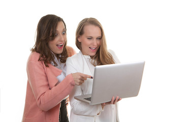 women looking at laptop
