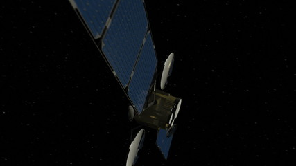 Communications satellite in orbit over Earth, view 1