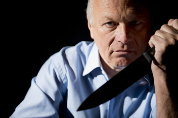 Angry Man With Large Knife