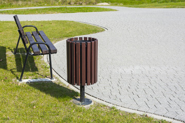 Trash bin in the park.