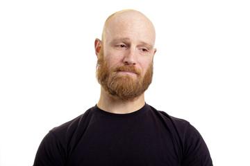 sad man, red beard isolated