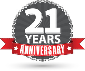 21 years anniversary retro label with red ribbon, vector illustr
