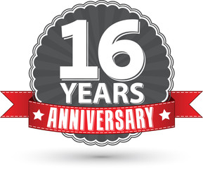 Celebrating 16 years anniversary retro label with red ribbon, ve