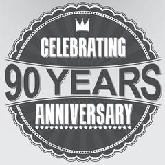 Celebrating 90 years anniversary retro label, vector illustratio