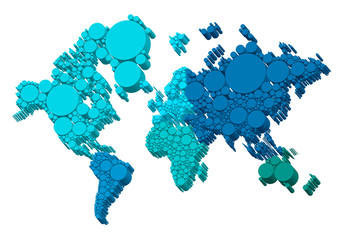 3D world map with dots, vector