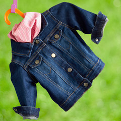 denim child  jacket with.kerchief