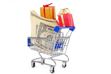 shopping trolley with presents gifts and money