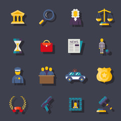 Flat law icons set