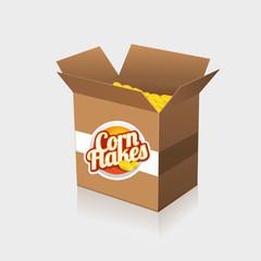Corn flakes vector label on box