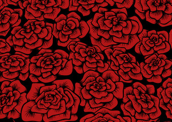 Seamless red rose background.