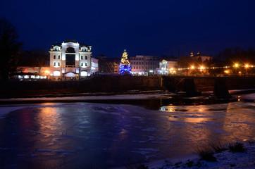 Night view of frozen Uzh river, Uzhgorod,winter time, Ukraine
